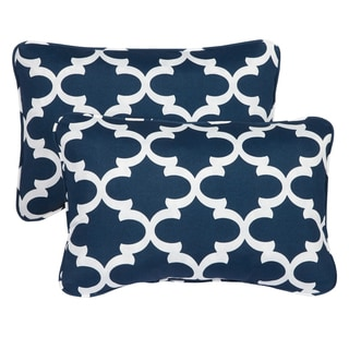 Scalloped Navy Corded 13 x 20 inch Indoor/ Outdoor Throw Pillows (Set of 2)