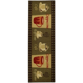 "Cafe Cappuccino Espresso Non-Skid 20"" x 59"" Kitchen Runner Rubber Back Rug"