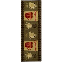 """Cafe Cappuccino Espresso Non-Skid 20"""" x 59"""" Kitchen Runner Rubber Back Rug - Green/Red - 20"""" x 59"""""""