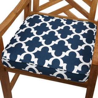 Delightful Scalloped Navy 19 Inch Indoor/ Outdoor Corded Chair Cushion