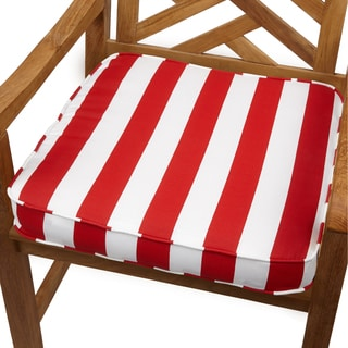 Red Stripe 20-inch Indoor/ Outdoor Corded Chair Cushion