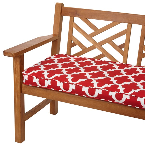 Shop Scalloped Red 48 Inch Indoor Outdoor Corded Bench Cushion On