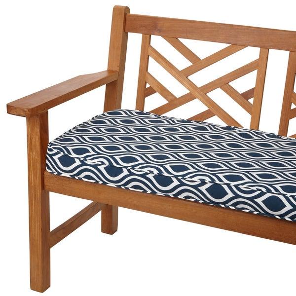 Wavy Stripe Navy 48 inch Indoor Outdoor Corded Bench