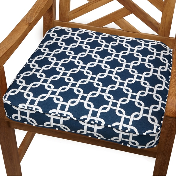 Knotted Navy 19-inch Indoor/ Outdoor Corded Chair Cushion