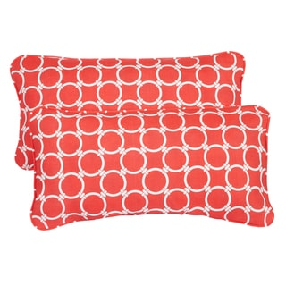 Links Coral Corded 12 x 24 Inch Indoor/ Outdoor Lumbar Pillows (Set of 2)