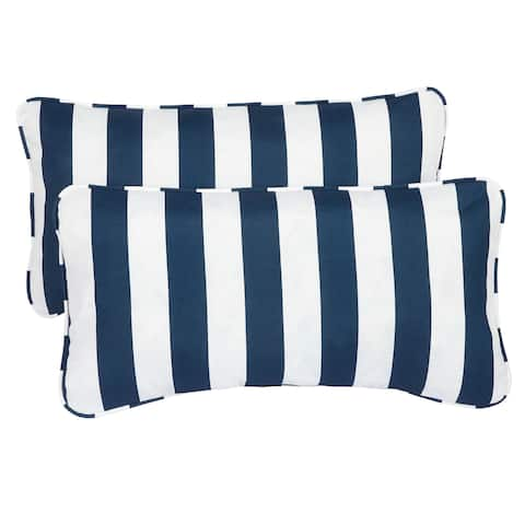 Striped Navy Corded 12 x 24 Inch Indoor/ Outdoor Lumbar Pillows (Set of 2)