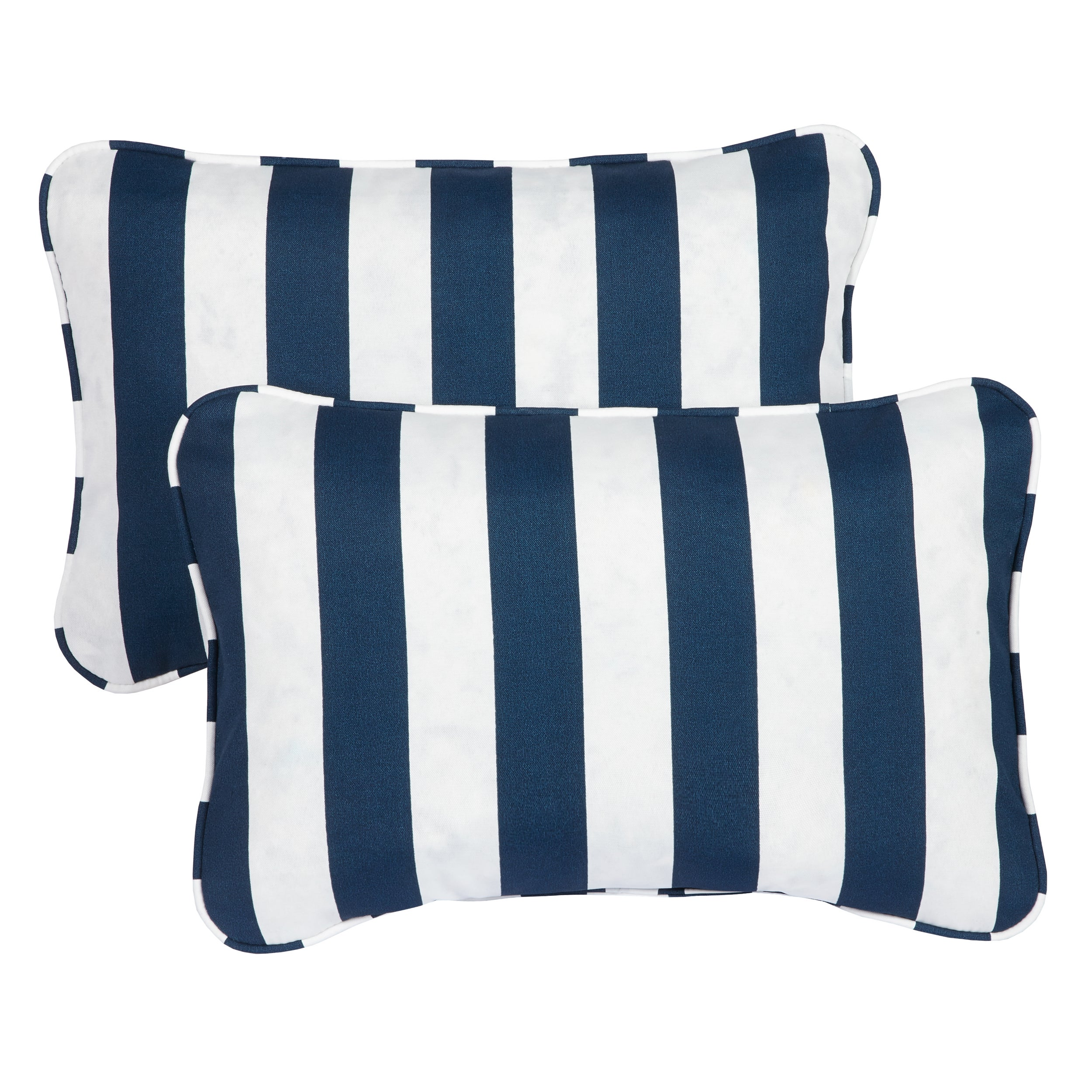 Striped Navy Corded 13 X 20 Inch Indoor Outdoor Throw Pillows Set