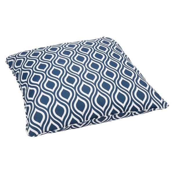 Wavy Navy Corded Outdoor/ Indoor Large 26-inch Floor Pillow