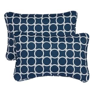 Links Navy Corded 13 x 20 inch Indoor/ Outdoor Throw Pillows (Set of 2)