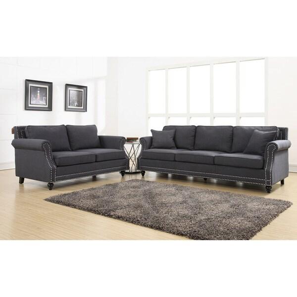 Camden Grey Linen Living Room Set - Free Shipping Today ...