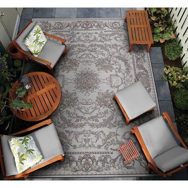 """Gelato Aeolian Blue-Gray Indoor/Outdoor Area Rug - 8'1"""" x 11'2"""""""