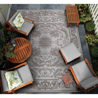 Couristan Dolce Messina Sky Blue-Grey Indoor/Outdoor Area Rug - 4' x 5'10