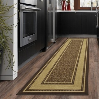 Ottohome Collection Chocolate Contemporary Bordered Design Modern Runner Rug with Non-slip Rubber Backing (2' x 7')