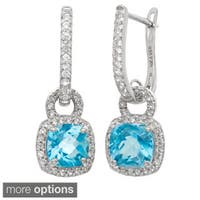 Gioelli Sterling Silver Gemstone and Created Sapphire Accent Earrings
