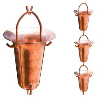 8.5-foot Pure Copper Taper Cup Rain Chain