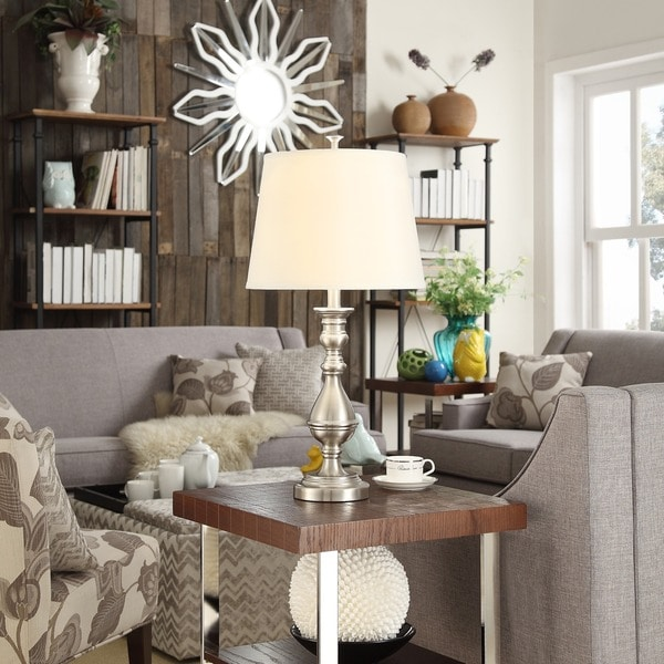 INSPIRE Q Sedgwick 3-way Satin Nickel Contoured Base 1-light Accent Table Lamp