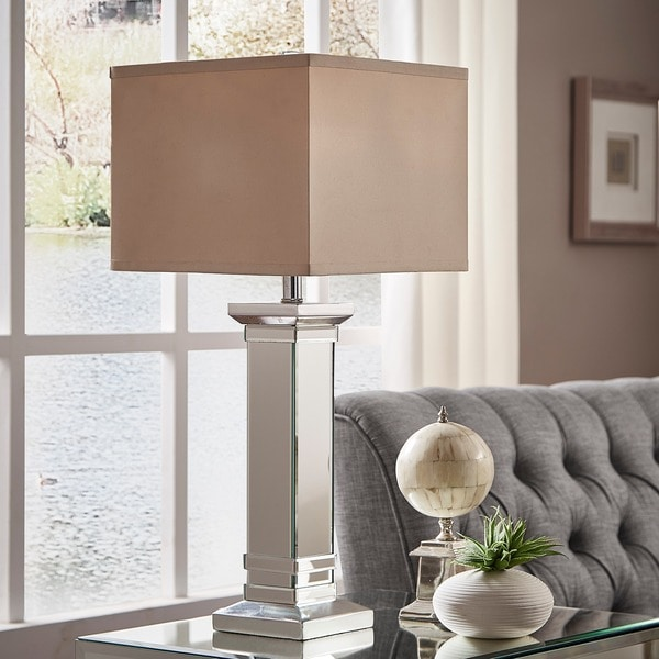 Felton 3-way Crystal Mirror Base 1-light Accent Table Lamp by iNSPIRE Q Bold