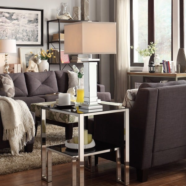 Felton 3 Way Crystal Mirror Base 1 Light Accent Table Lamp By INSPIRE Q