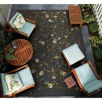 Couristan Dolce Gardenia Black-Multi Indoor/Outdoor Area Rug - 4' x 5'10