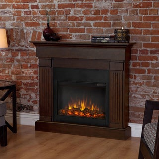 Real Frame Crawford Slim Line Chestnut Oak 47.4 in. L x 9.5 in. D x 41.9 in. H Electric Fireplace