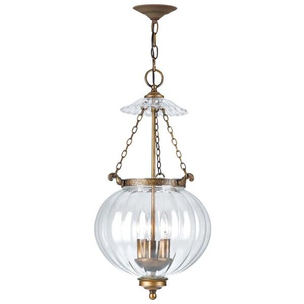 Shop Crystorama Camden Collection 3 Light Antique Brass Pendant
