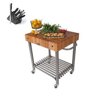 John Boos CUCD15 Cucina D'Amico 30 x 24 Kitchen Cart and Henckels 13-piece Knife Block Set