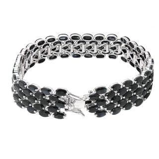 De Buman Sterling Silver Natural Sapphire Link Bracelet