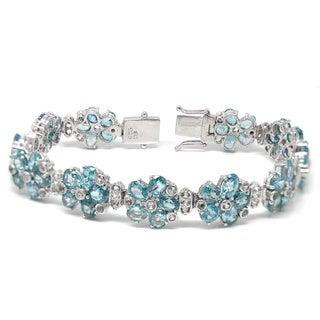 De Buman 925 Silver 35.35ctw Natural Ruby, Sapphire, Emerald or Blue Zircon Flower Bracelet
