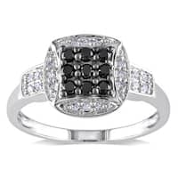 Miadora 14k White Gold 1/3ct TDW Black and White Diamond Composite Ring