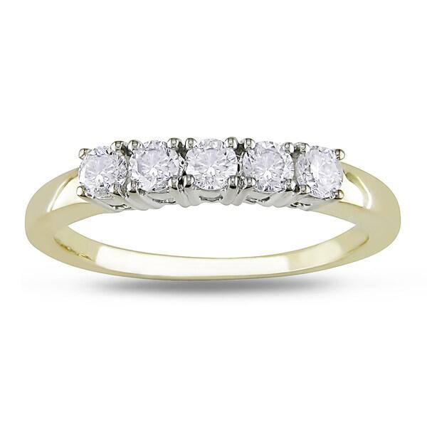 Miadora 14k Two-tone Gold 1/2ct TDW Diamond 5-stone Ring (G-H, I1-I2)