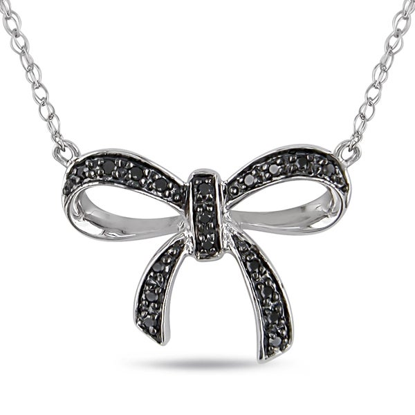 miadora sterling silver black diamond bow necklace free