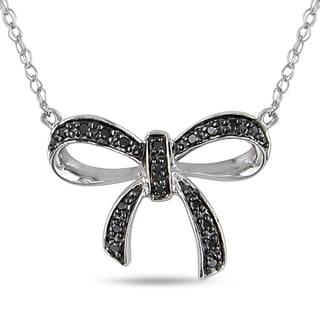 Miadora Sterling Silver Black Diamond Bow Necklace