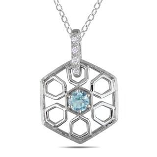 Miadora Sterling Silver Blue Topaz and Diamond Hexagon Necklace