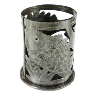 Handmade Metal Art Fish Design Candle Holder (Haiti)