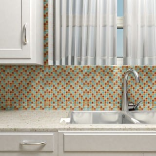 SomerTile 11.875x11.875-inch Alumini Mini Cirque Brushed Aluminum Mosaic Wall Tile (Case of 10)