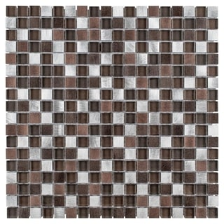 SomerTile 11.875x11.875-inch Fuse Mini Noir Brushed Aluminum and Glass Mosaic Wall Tile (Case of 10)