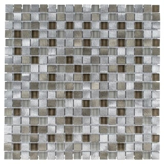 SomerTile 11.875x11.875-inch Fuse Mini Lorraine Brushed Aluminum and Glass Mosaic Wall Tile (Case of