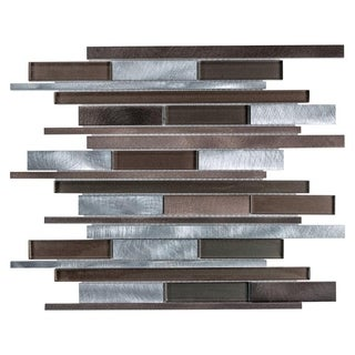 SomerTile 11.875x12.25-inch Fuse Linear Noir Brushed Aluminum and Glass Mosaic Wall Tile (Case of 10