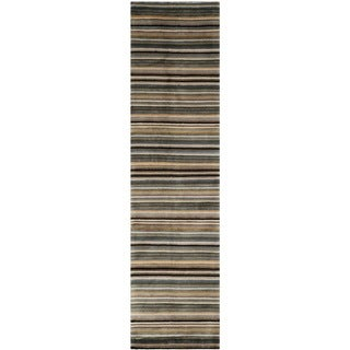 Safavieh Hand-knotted Tibetan Striped Navy/ Black Wool Rug (2'6 x 10')