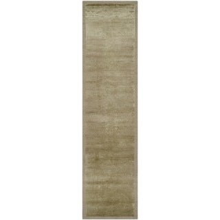 Safavieh Hand-knotted Tibetan Striped Olive Wool/ Silk Rug (2'6 x 10')
