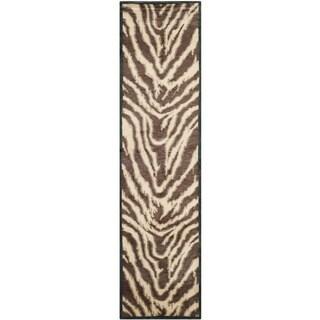 Safavieh Hand-knotted Tibetan Animal Print Black/ Ivory Wool Rug (2'6 x 12')