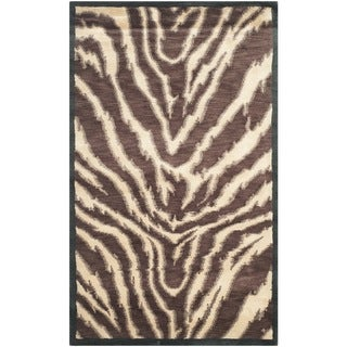 Safavieh Hand-knotted Tibetan Animal Print Black/ Ivory Wool Rug (3' x 5')
