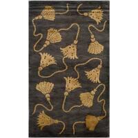 Safavieh Hand-knotted Tibetan Tassels Plum/ Gold Wool/ Silk Rug - 3' x 5'
