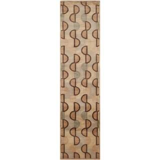 Safavieh Hand-knotted Tibetan Contemporary Beige/ Rust Wool Rug (2'6 x 12')