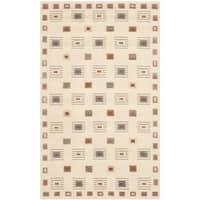 Safavieh Hand-knotted Tibetan Geometric Ivory Wool Area Rug - 4' x 6'