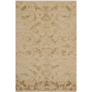 Safavieh Hand-knotted Tibetan Iron Scrolls Light Gold Wool/ Silk Rug (3' x 5')