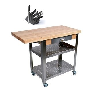 John Boos CUCE40 Cucina Culinarte 40 x 20 Food Service Cart and Henckels 13-piece Knife Block Set