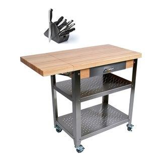 John Boos CUCE40 Cucina Culinarte 40 x 20 Food Service Cart and Henckels 13-piece Knife Block Set