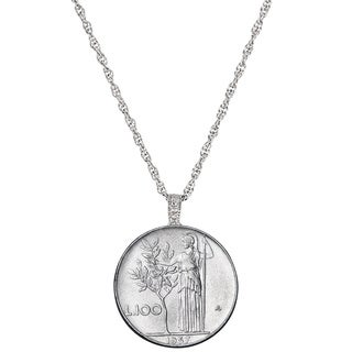 American Coin Treasures Steel Italian Lire Coin Necklace