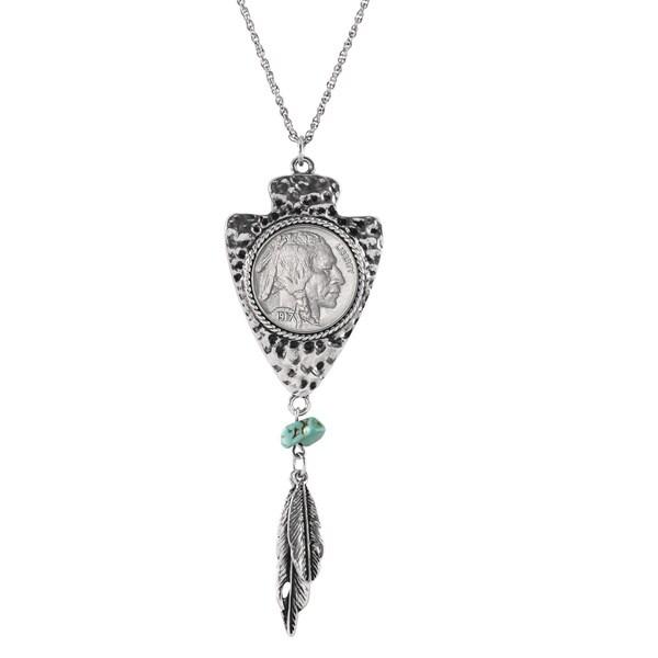 American Coin Treasures Steel Buffalo Nickel Arrowhead Necklace